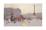 Figures in the Place De La Bastille Giclee Print by Eugene Galien-Laloue
