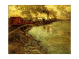 Freight Train, Dusk Giclee Print by Fritz Thaulow