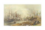 Shipbuilding at Limehouse, 1840 Giclee Print by William Parrott