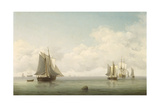 Fishing Boats in a Calm Sea, C.1745-59 Giclee Print by Charles Brooking