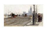 The Victoria Embankment, London, 1875 Giclee Print by Giuseppe De Nittis