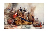 "The Burning of the ""London"" by the Dutch Giclee Print by Charles Edward Dixon"