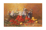 Still Life of Flowers and Fruit Giclee Print by Hubert Bellis