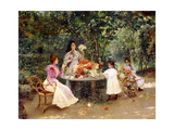 Teatime in the Garden Giclee Print by Edouard Frederic Wilhelm Richter