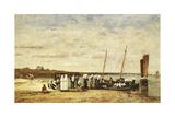 Fisherwomen Disembarking from Plougastel, 1870 Giclee Print by Eugène Boudin