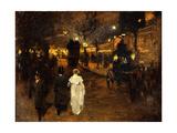 Charing Cross Road at Night, London, C.1905 Giclee Print by Frederick Judd Waugh