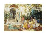 In a Village at El Biar, Algiers Giclée-tryk af Frederick Arthur Bridgman