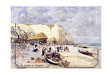 The Beach at Etretat Giclee Print by Luigi Loir