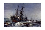 "The Wreck of the ""Birkenhead,"" 1852 Giclee Print by Charles Edward Dixon"