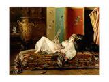 A Reclining Odalisque Giclee Print by Gustave Leonard de Jonghe