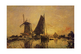 In Holland, Boats Near a Windmill, 1868 Giclee Print by Johan-Barthold Jongkind
