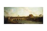 Castel Sant'Angelo and Ponte Sant'Angelo, Rome Giclée-tryk af Antonio Joli