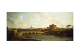 Castel Sant'Angelo and Ponte Sant'Angelo, Rome Giclee Print by Antonio Joli