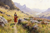 Knitting in a Norwegian Landscape Giclee Print by Hans Dahl
