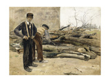 The Woodcutters Giclee Print by Jean Francois Raffaelli