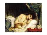 A Reclining Beauty with Her Cat Giclee Print by Fritz Zuber-Buhler