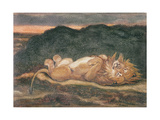 Lion Resting on His Back Giclee Print by Antoine Louis Barye
