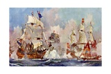 "The ""Prince George"" at the Battle of Malaga, 1704 Giclee Print by Charles Edward Dixon"