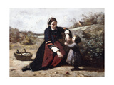 Breton Woman with Her Small Daughter, C.1855-1865 Giclee Print by Jean Baptiste Camille Corot