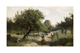 Path with Apple Trees, 1850-60 Giclee Print by Jean-Baptiste-Camille Corot