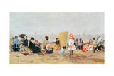 Beach Scene, Trouville, 1881 Giclee Print by Eugène Boudin