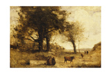 The Cows and the Well Giclee Print by Jean-Baptiste-Camille Corot