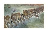 Old London Bridge, C 1600 Giclee Print by Peter Jackson
