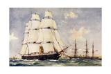 Britain's First Two Ironclads Giclee Print by Charles Edward Dixon