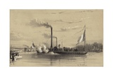 People on the Shore Waving Off a Steamship Giclee Print by A Provost