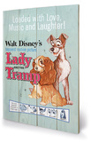 Lady and The Tramp - Love, Music and Laughter Wood Sign Wood Sign