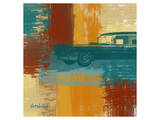 Blue Retro Car Prints by  Yashna