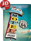 The 66 Blue Star Motel Plaque en métal