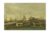 Treport - a Quay, C.1855-65 Giclee Print by Jean-Baptiste-Camille Corot