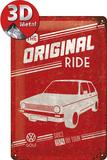 VW Golf - The Original Ride Plaque en métal