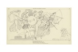 The Gods Descending to Battle Giclee Print by John Flaxman
