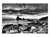 Black and White Rocky Coast Print by Nish Nalbandian
