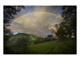 Green Field with Clouds & Rainbow Prints by Nish Nalbandian