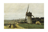 Etretat-A Windmill Giclee Print by Jean-Baptiste-Camille Corot