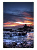 Cool Sunset over Rocks I Poster by Nish Nalbandian