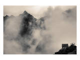 Small House in Foggy Mountains Print by Nish Nalbandian