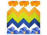 Chevron Pattern with Flowers Print by Irena Orlov