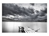 Lake with Dock Mountains & Clouds Posters by Nish Nalbandian