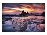 Cool Sunset over Rocks II Print by Nish Nalbandian