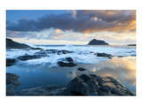 Playa de Garachico with Anaga Mountains, Tenerife, Canary Islands, Spain Print