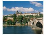 Vltava with Charles Bridge and Prague Castle, Prague, Bohemia, Czech Republic Print