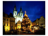 Teyn Church at christmas time, Prague, Central Bohemia, Czech Republic Prints