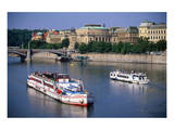 River Vltava, Rudolphinum, Prague, Central Bohemia, Central Bohemia, Czech Republic Prints