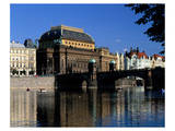 National Theatre, Legion Bridge, River Vltava, Prague, Central Bohemia, Czech Republic Prints