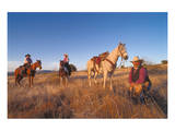 Ranchers with their horses, Horseshoe Working Ranch, Arizona, USA Prints