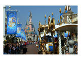 Parade in the Main Street U.S.A. with Sleeping Beauty's Castle, Disneyland Resort Paris Prints
